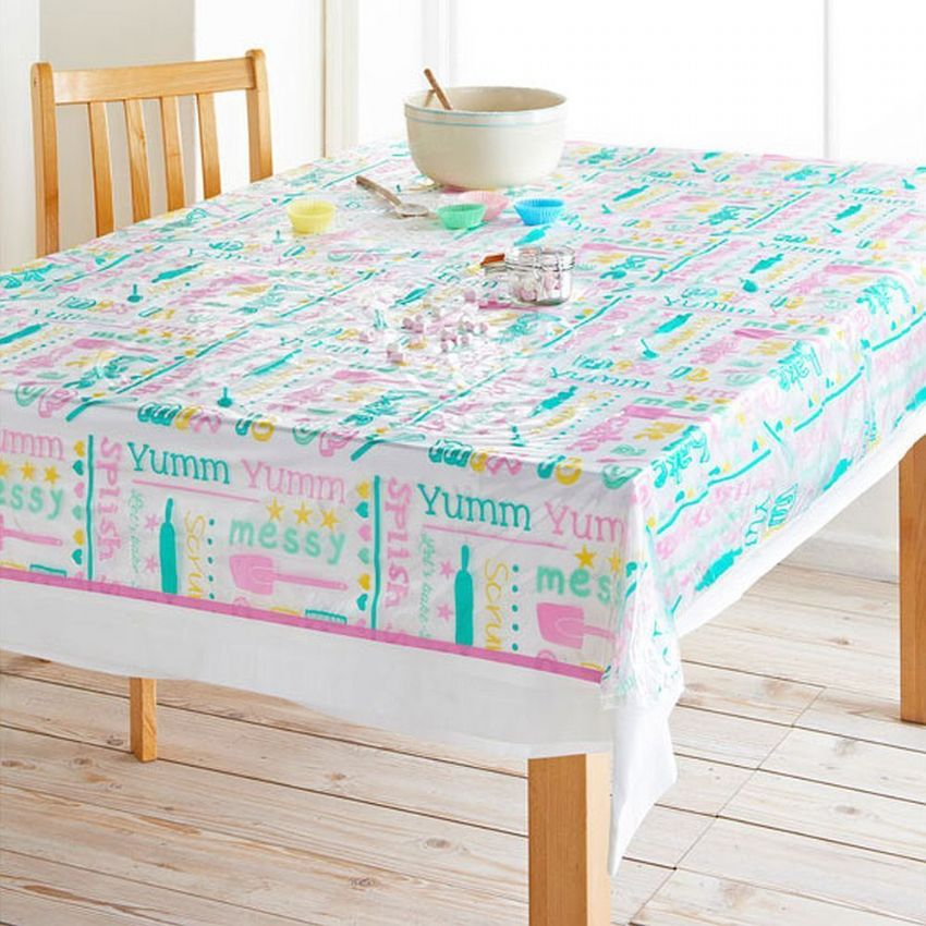 Messy Kitchen Baking: Wipe Clean Kitchen Baking PVC Plastic Tablecloth
